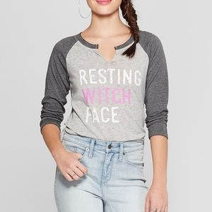 "NWT ""RESTING WITCH FACE"" HALLOWEEN BASEBALL TEE"